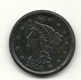 1844 Braided Hair Large Cent